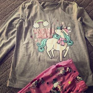 Two piece lightweight girls unicorn dreams pjs